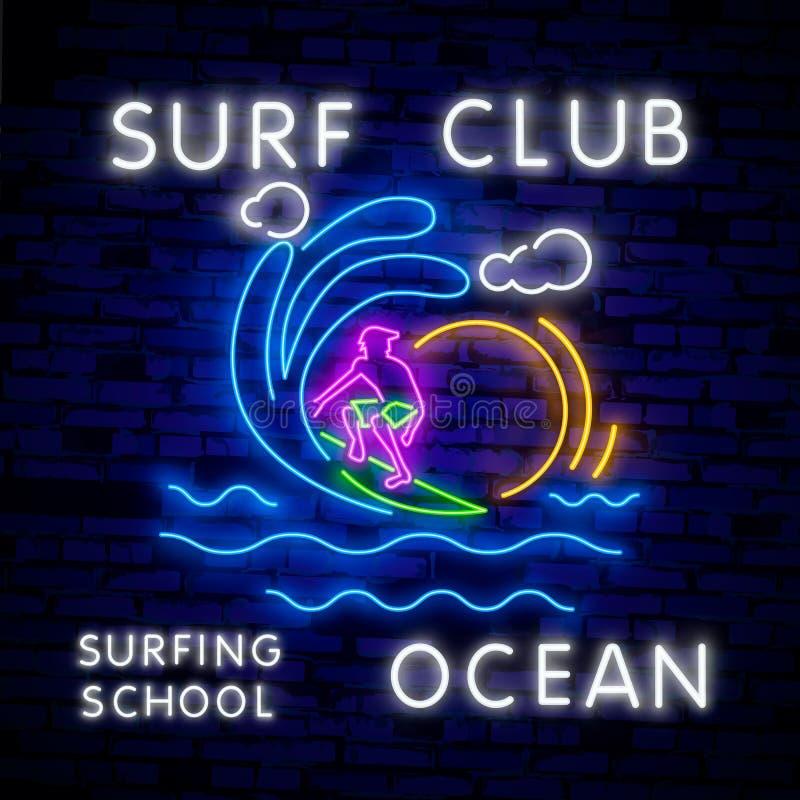 Surfingu plakat w Neonowym stylu Rozjarzony znak dla kipiel sklepu lub klubu Surfboards Elektryczne ikony na ?ciany z cegie? tle ilustracja wektor