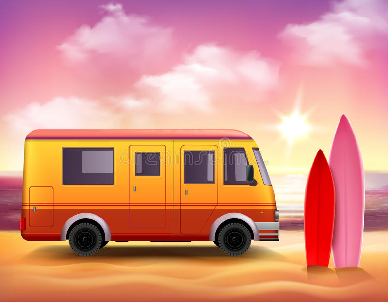 Surfingu Van 3D Kolorowy tła plakat ilustracja wektor