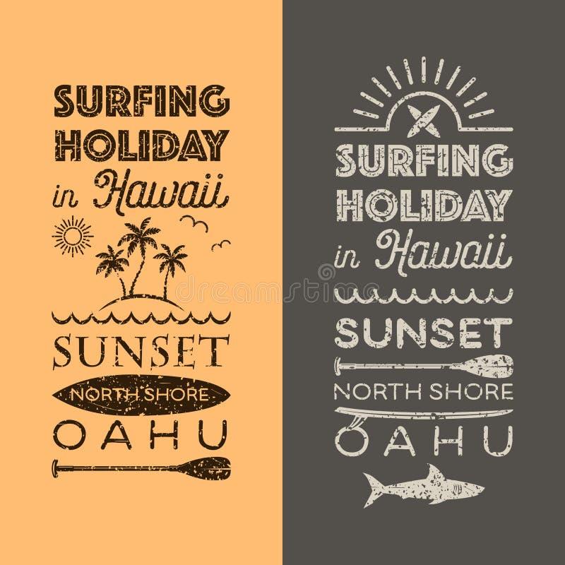 Surfingu wakacje w Hawaje emblematach royalty ilustracja