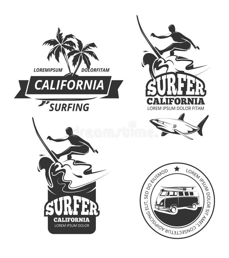 Surfingu wektoru odznaki lub etykietki royalty ilustracja