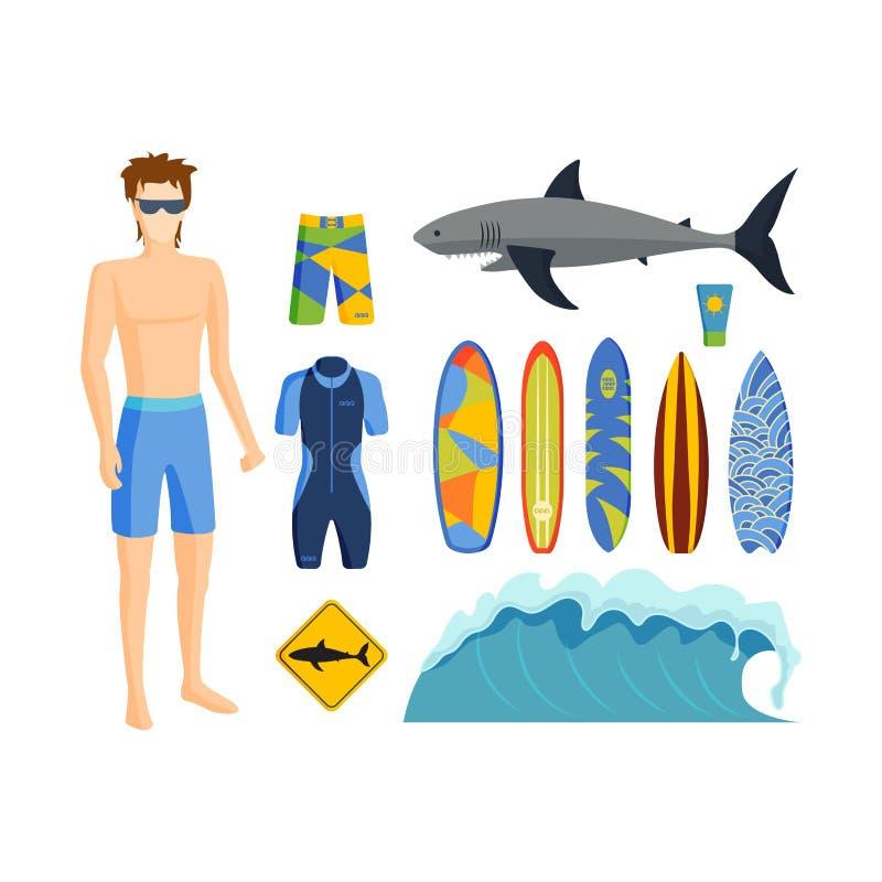 Surfingu wektoru set ilustracja wektor