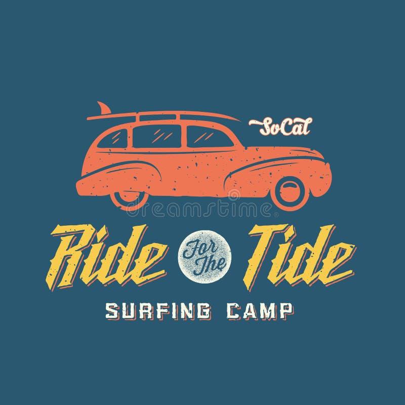 Surfingu Woodie Samochodowa Retro Stylowa etykietka lub logo ilustracji