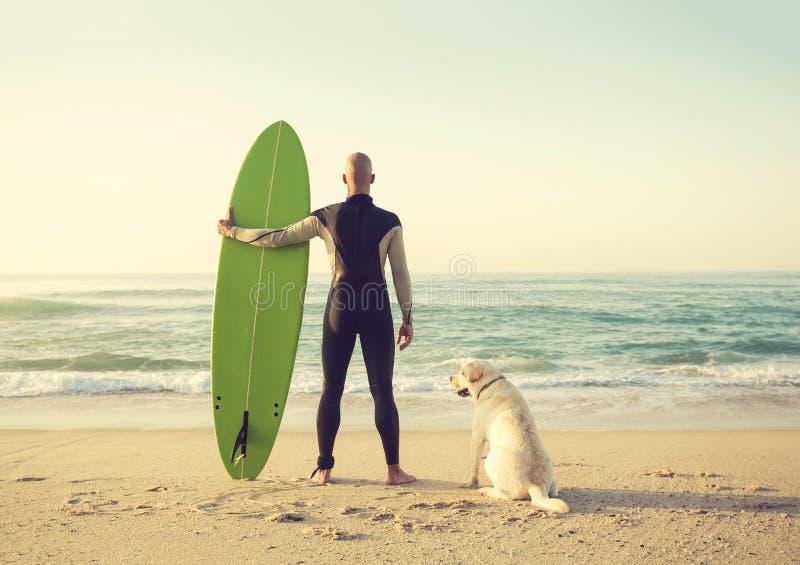 Surfist och hans hund arkivfoton