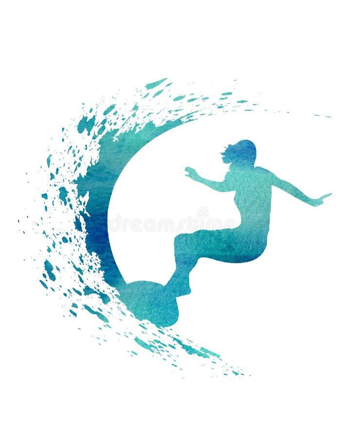 Surfista azul da aquarela com o cartão do cartaz da ilustração da onda ilustração do vetor