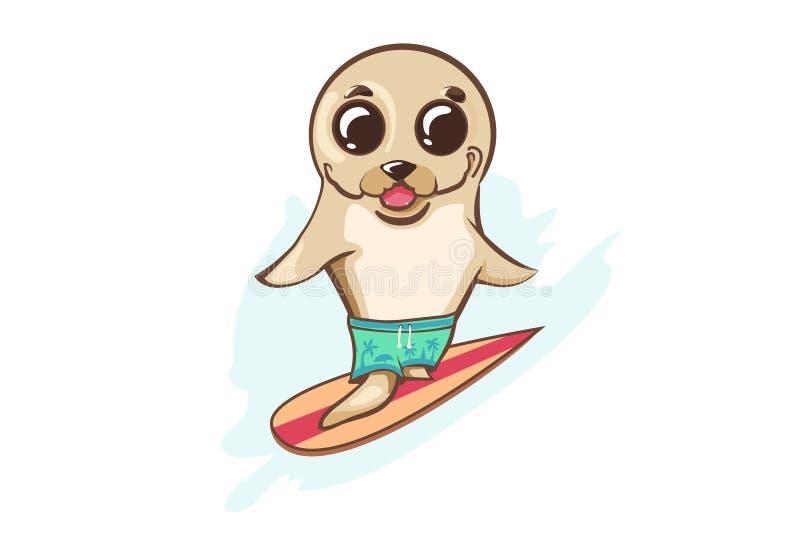 Surfista bonito - selo Mascote havaiana Arte do divertimento Ilustração lisa do verão ilustração do vetor
