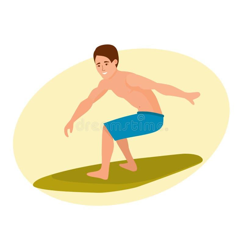 Surfista com posição da prancha, equitação na onda de oceano Curso da ressaca ilustração royalty free