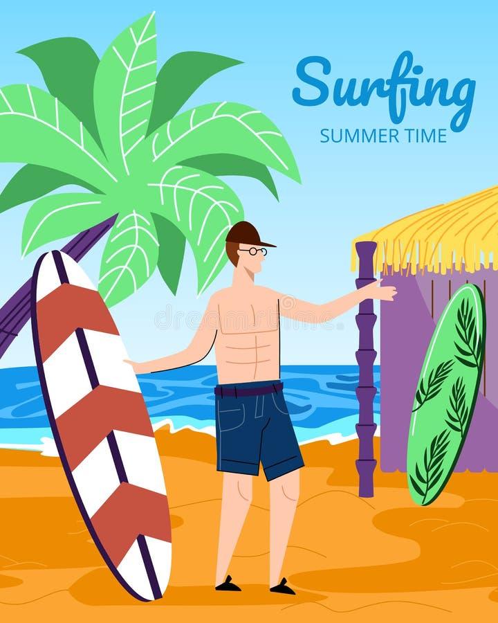 Surfista del giovane che tiene il bordo di spuma su Sandy Beach illustrazione di stock