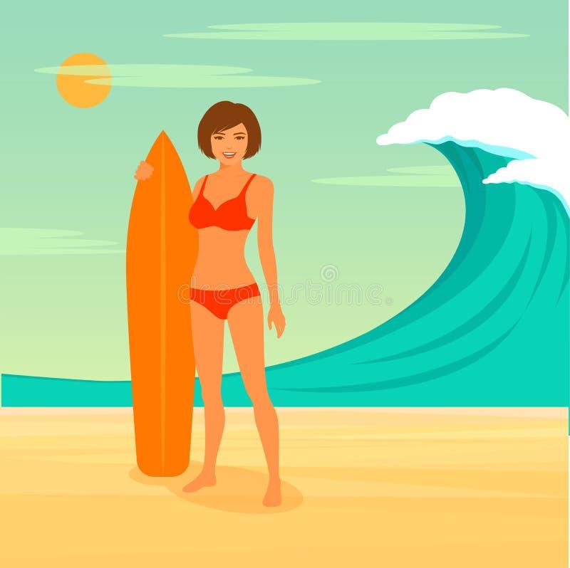 Surfista della donna, sport praticante il surfing, royalty illustrazione gratis