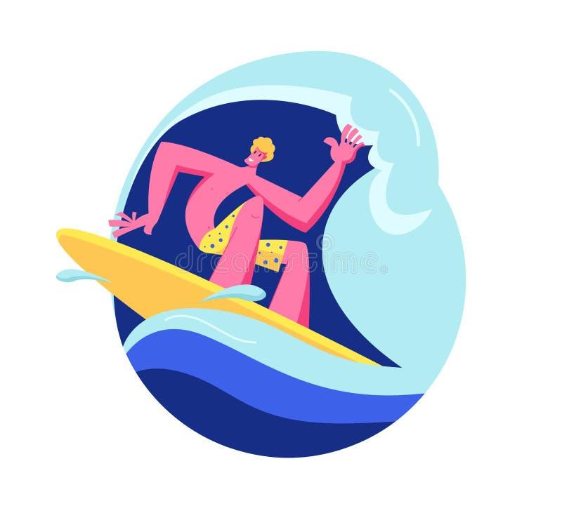 Surfista do homem novo no desgaste da nadada que monta a onda grande do mar a bordo Atividade do ver?o, estilo de vida saud?vel,  ilustração royalty free