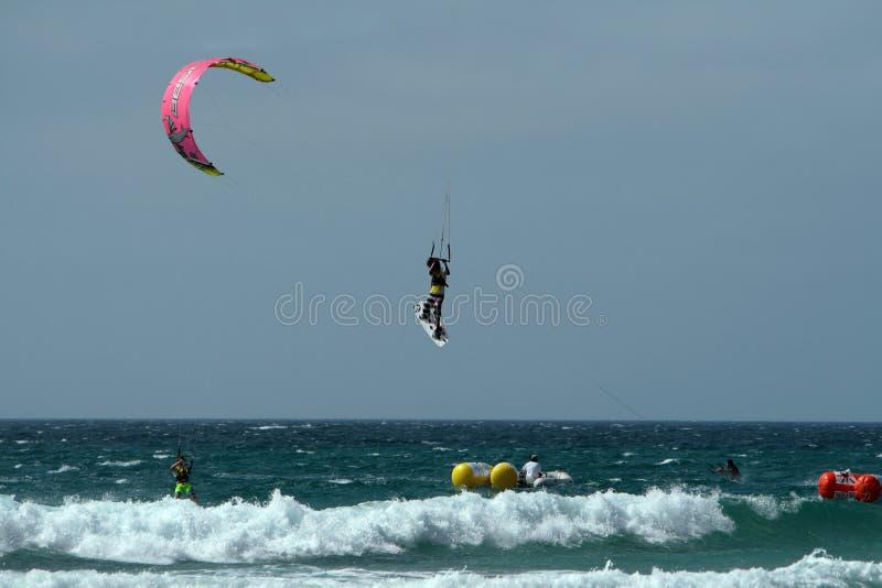 Surfista do papagaio no ki do campeonato de Spain foto de stock