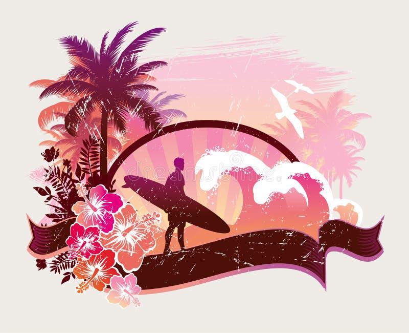 Surfista em uma praia ilustração do vetor