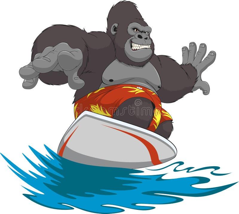 Surfista engraçado do macaco ilustração royalty free