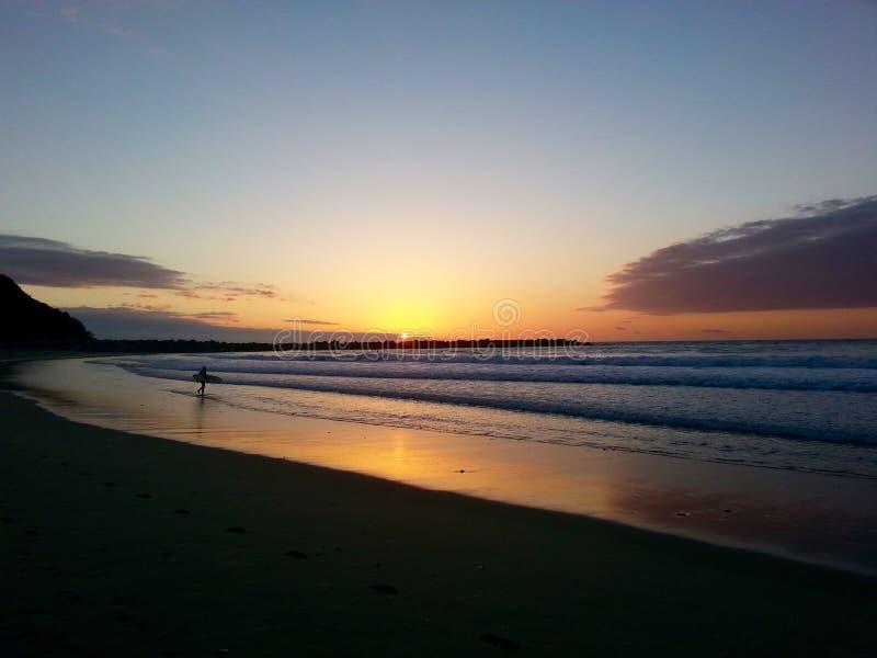 Surfista espanhol no por do sol imagens de stock royalty free