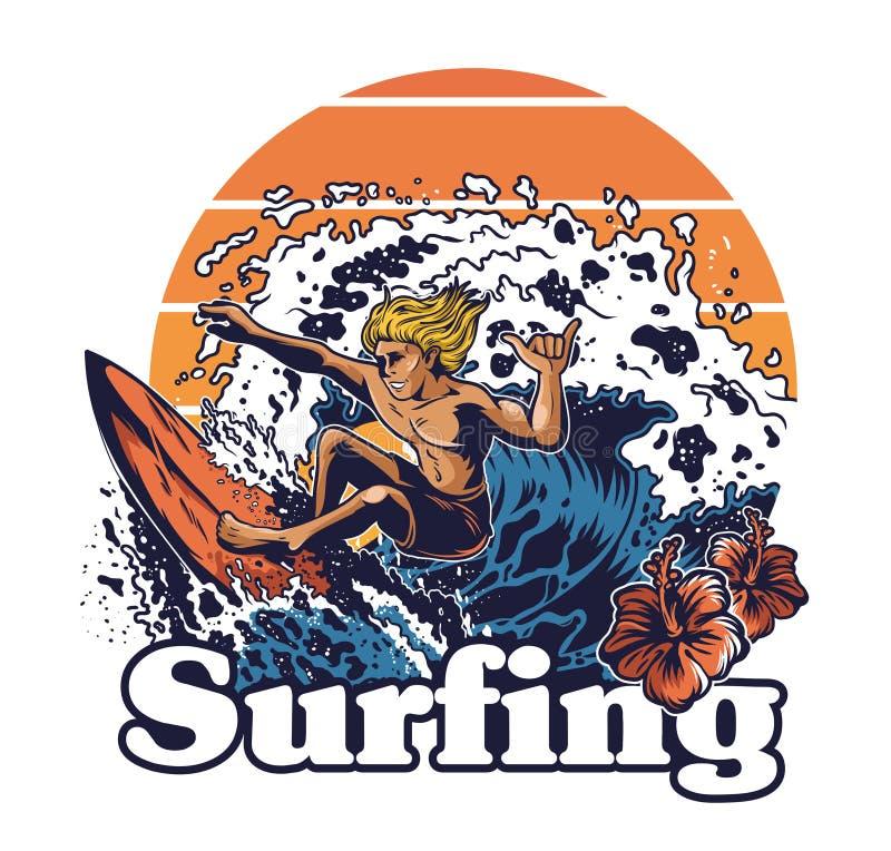 Surfista extremo louco do homem novo ilustração do vetor