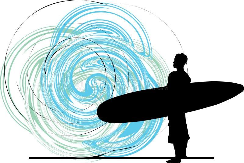 Surfista. illustrazione. illustrazione di stock