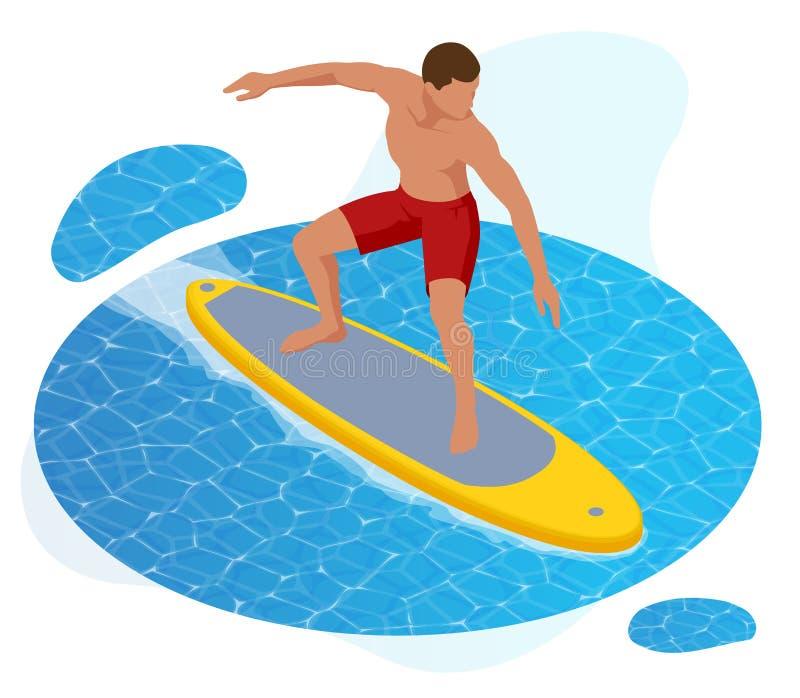 Surfista isométrico do verão Surfista na onda de oceano azul isolada no fundo branco ilustração stock