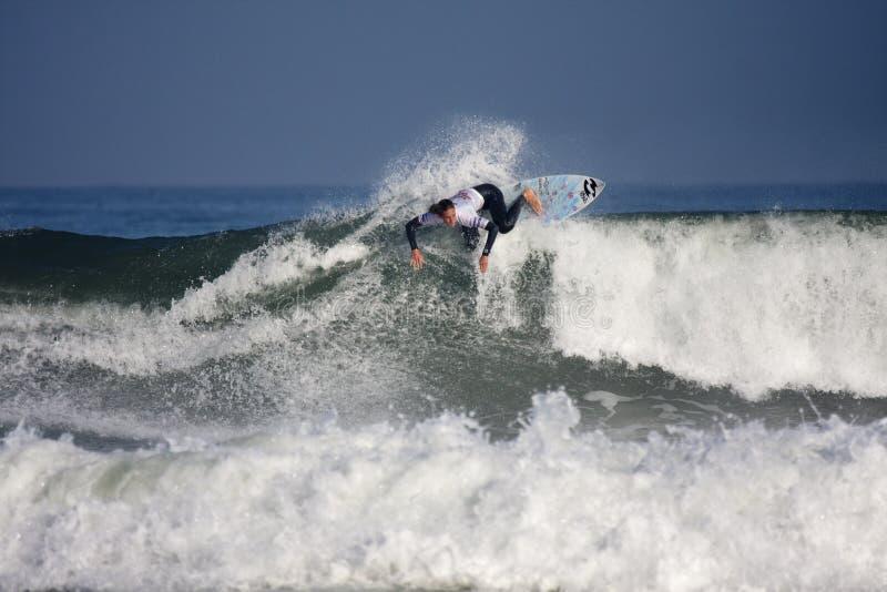 Surfista Justine Du Pont fotografia de stock