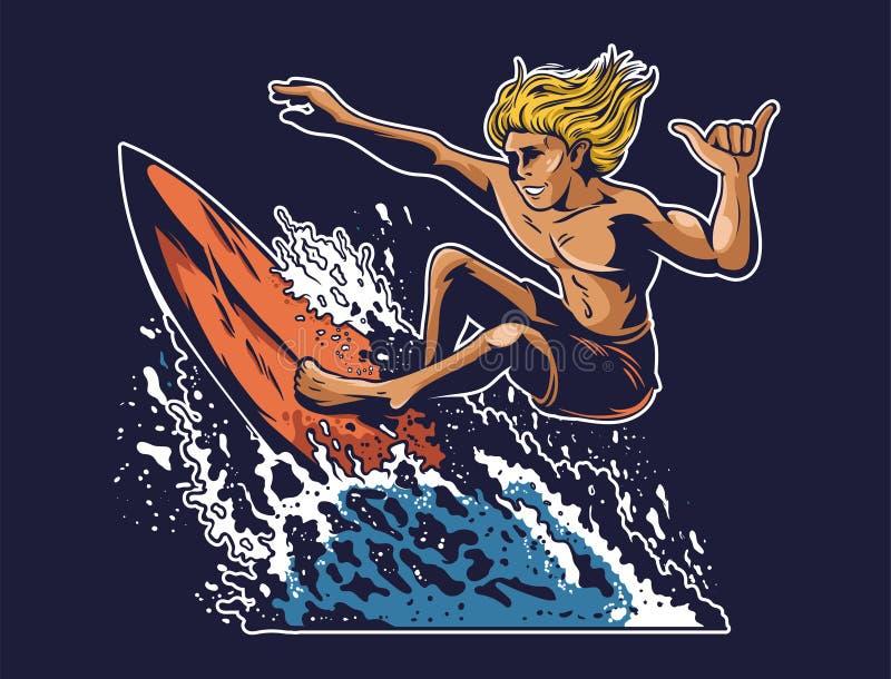 Surfista louco novo do homem que que surfa ilustração do vetor