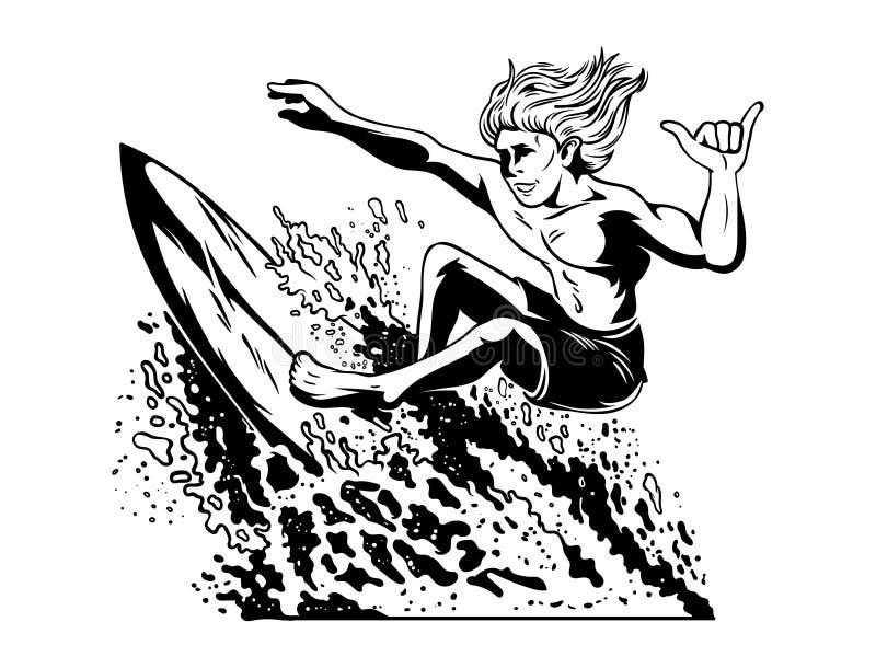 Surfista louco novo do homem que que surfa ilustração stock