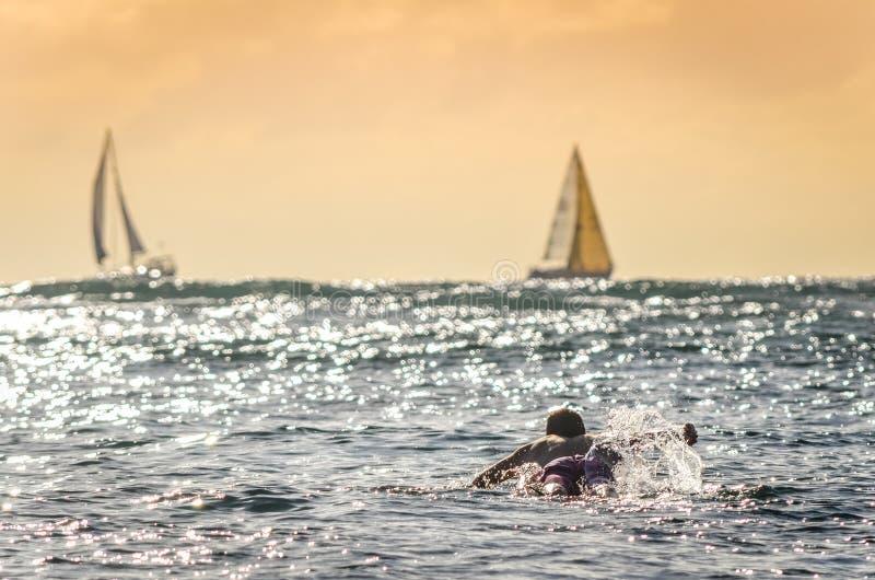Surfista maschio che rema fuori al tramonto in Hawai con le barche a vela nel fondo fotografia stock libera da diritti