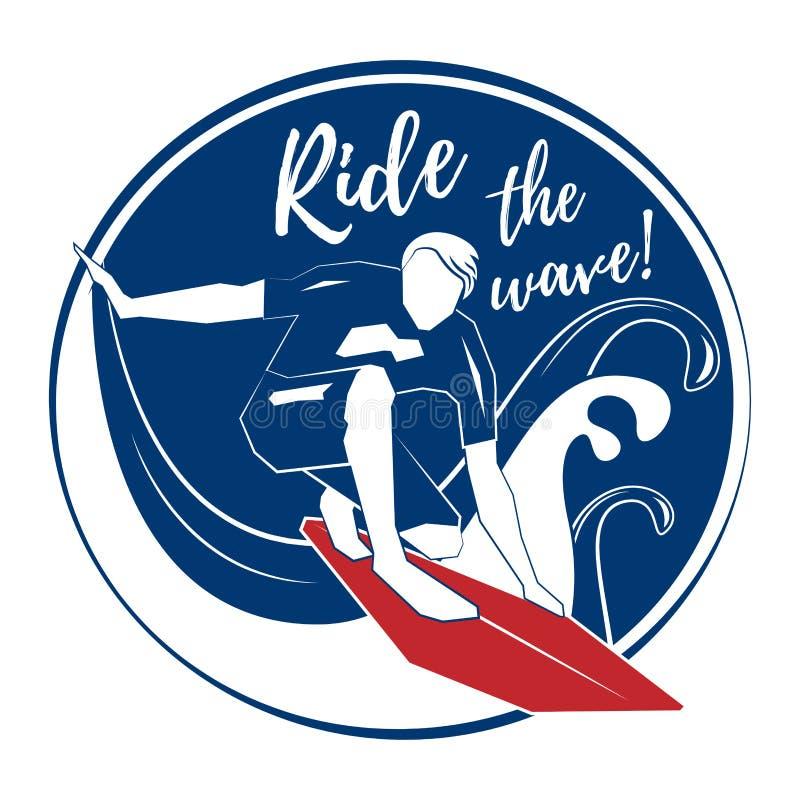 Surfista na onda grande ilustração stock