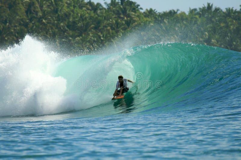 Surfista na onda verde, consoles de Mentawai, Indonésia fotos de stock royalty free