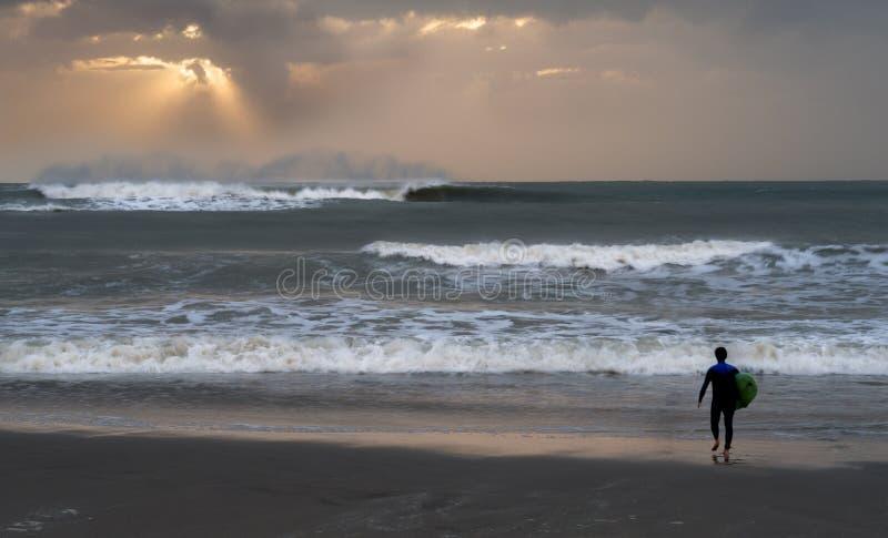 Surfista na praia de Viareggio em Toscana - Itália fotos de stock royalty free