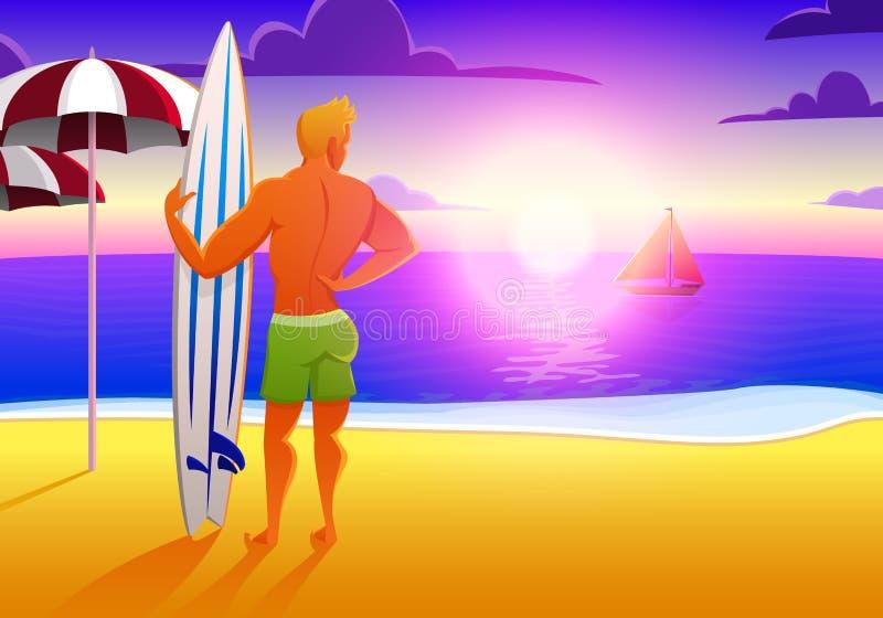 Surfista na praia do oceano no por do sol com prancha ilustração do vetor, efeito do vintage os esportes equipam nos fins de sema ilustração do vetor