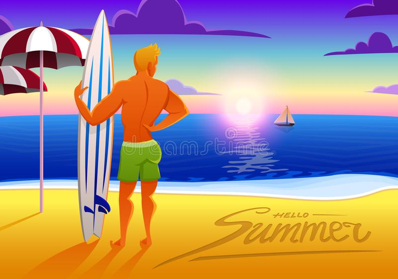 Surfista na praia do oceano no por do sol com prancha ilustração do vetor, efeito do vintage os esportes equipam nos fins de sema ilustração stock