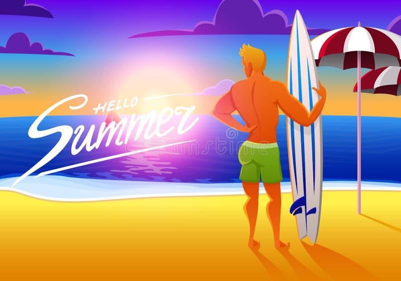Surfista na praia do oceano no por do sol com prancha ilustração do vetor, efeito do vintage os esportes equipam nos fins de sema ilustração royalty free