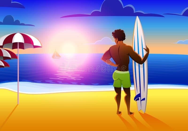 Surfista na praia do oceano no por do sol com prancha ilustração do vetor, efeito do vintage ostenta o homem afro-americano sobre ilustração stock
