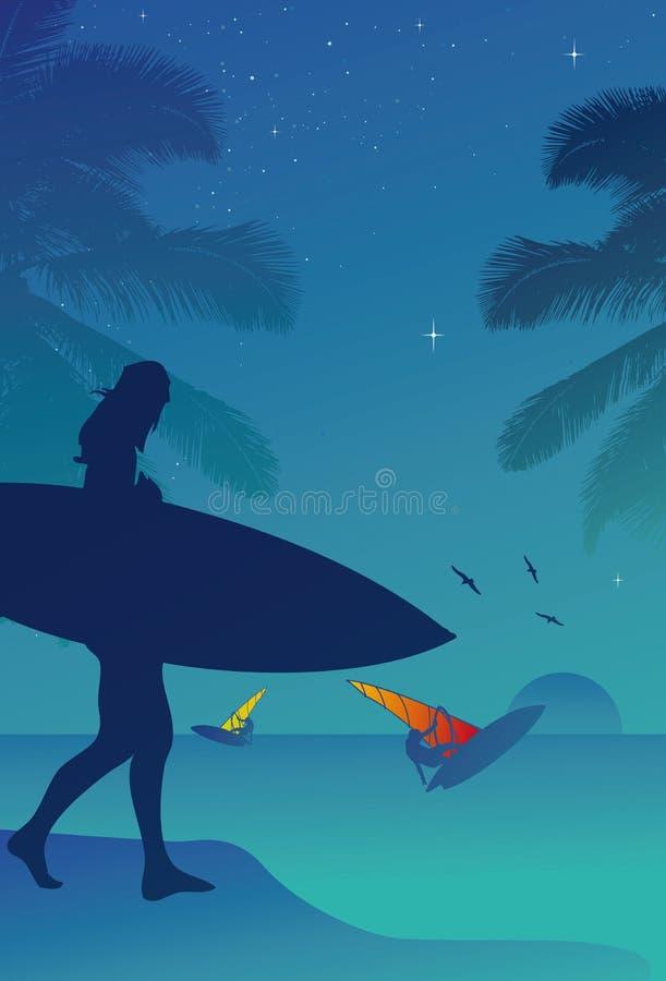 Surfista nel tramonto immagine stock libera da diritti