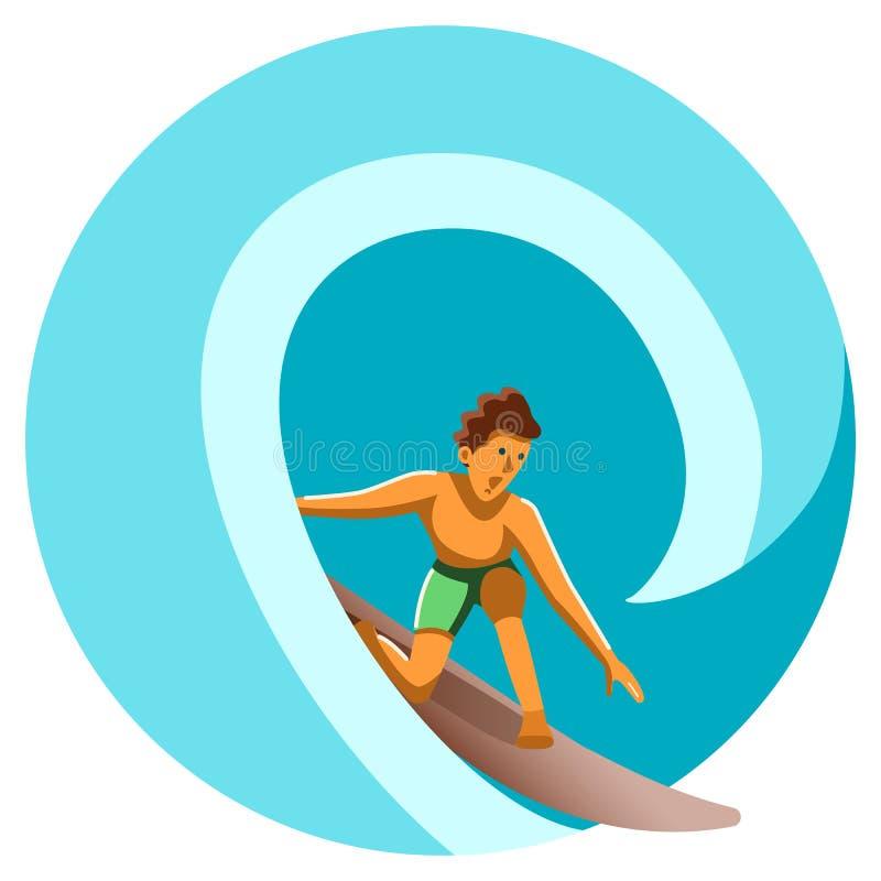 Surfista no oceano na onda a mais grande ilustração stock