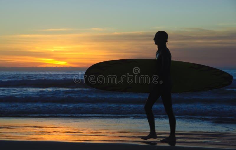 Surfista no por do sol, costas de La Jolla fotos de stock royalty free