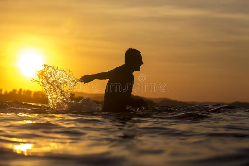 Surfista in oceano a tempo di tramonto immagine stock