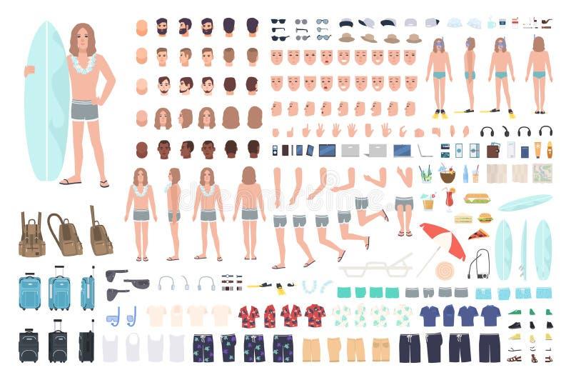 Surfista ou homem masculino no grupo da criação das férias ou no jogo de DIY Pacote de partes do corpo, roupa do verão, equipamen ilustração stock