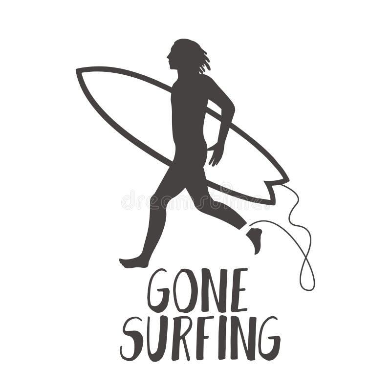 Surfista que corre na praia Caligrafia surfando ida ilustração stock