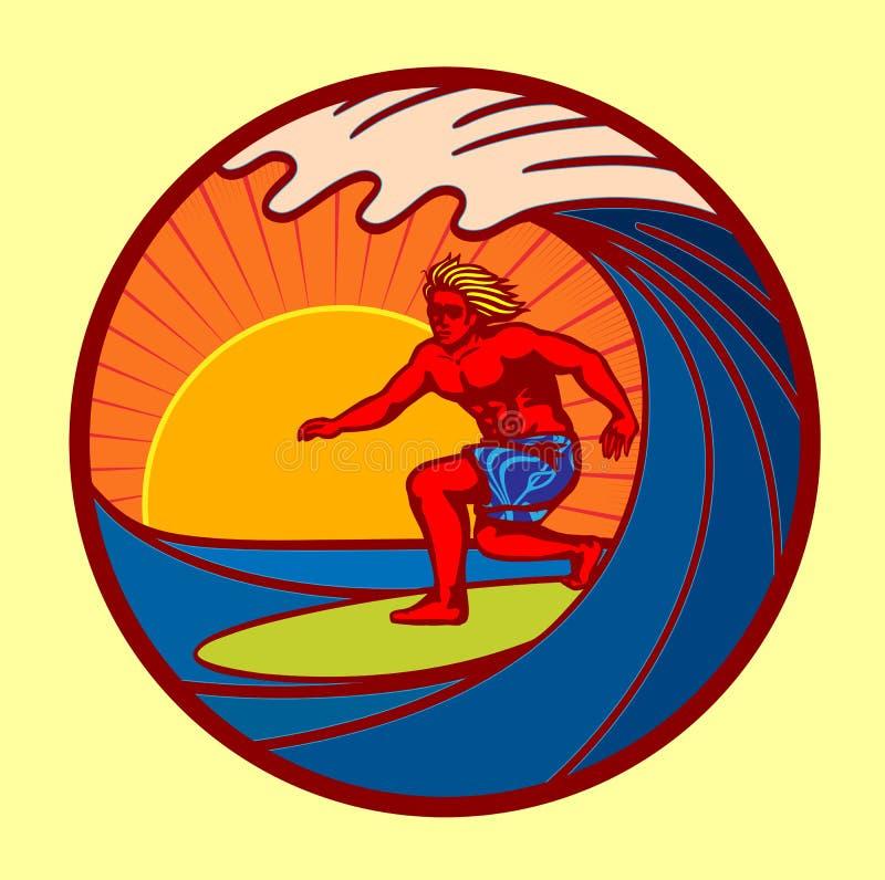 Surfista que monta a onda grande na ilustração do vetor do por do sol ilustração do vetor