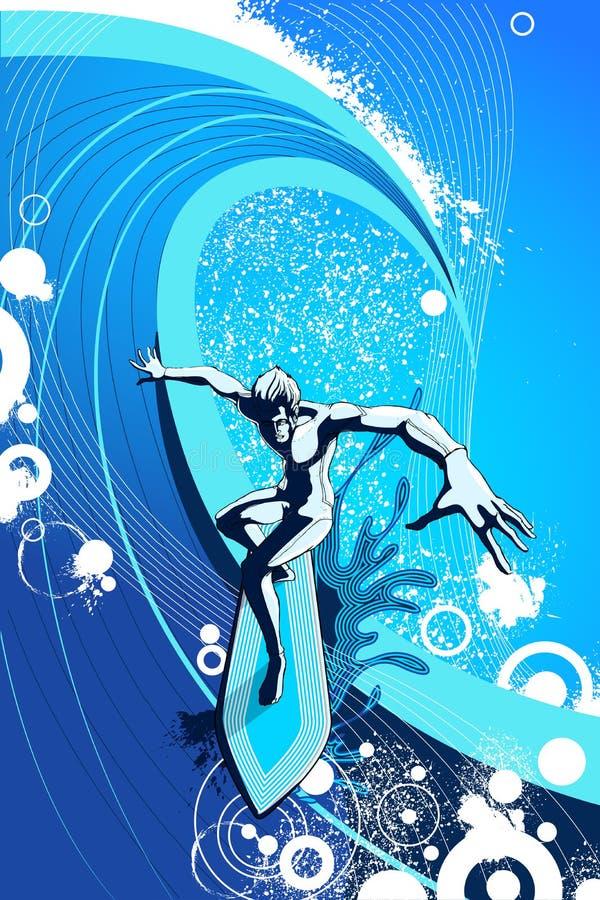 Surfista que monta uma onda grande ilustração royalty free