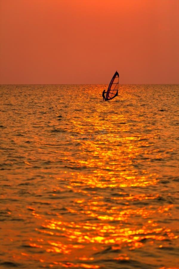 Surfista que surfa apenas no mar no por do sol imagem de stock