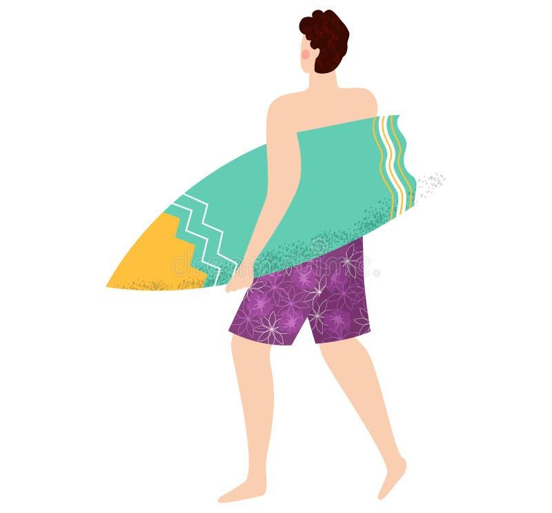 Surfista que vai com prancha, vetor da atividade de água ilustração royalty free