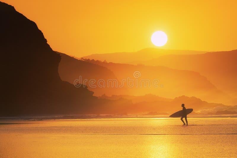 Surfista saliendo del agua al atardecer fotos de archivo