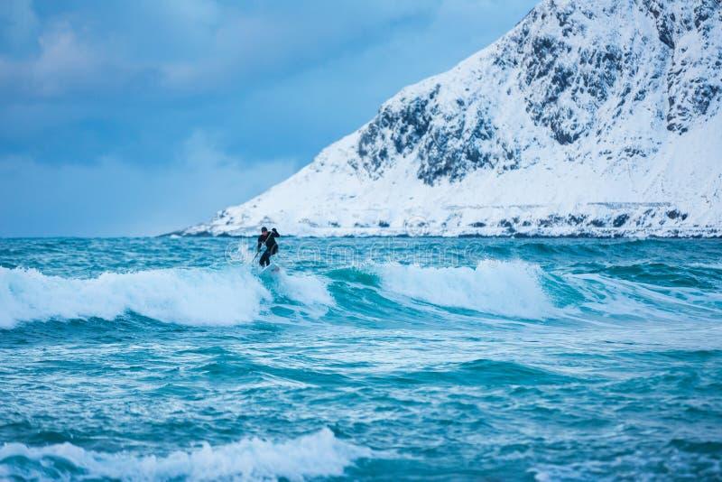 Surfistas do treinamento em águas frias de Lofotens imagem de stock