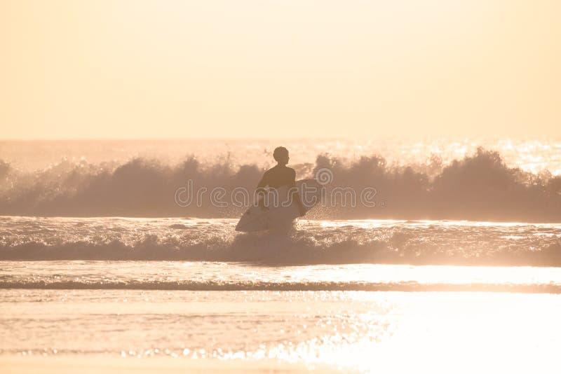 Surfistas na praia com prancha foto de stock