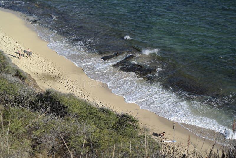 Surfistas que andam em Oahu imagens de stock royalty free
