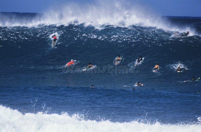 Surfistas que remam para fora para travar a onda foto de stock