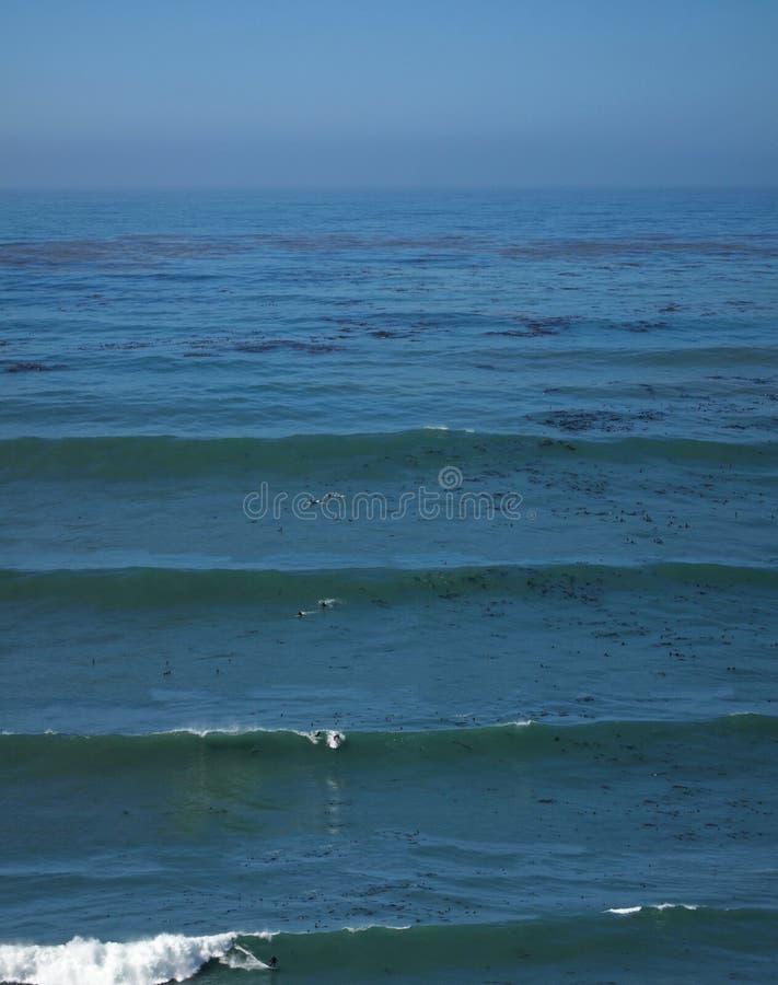 Surfisti alla costa del Big Sur fotografia stock