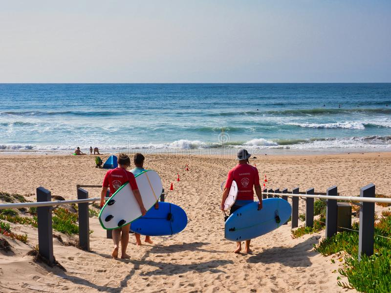 Surfisti che camminano sulla spiaggia sabbiosa, Sydney, Australia fotografie stock libere da diritti