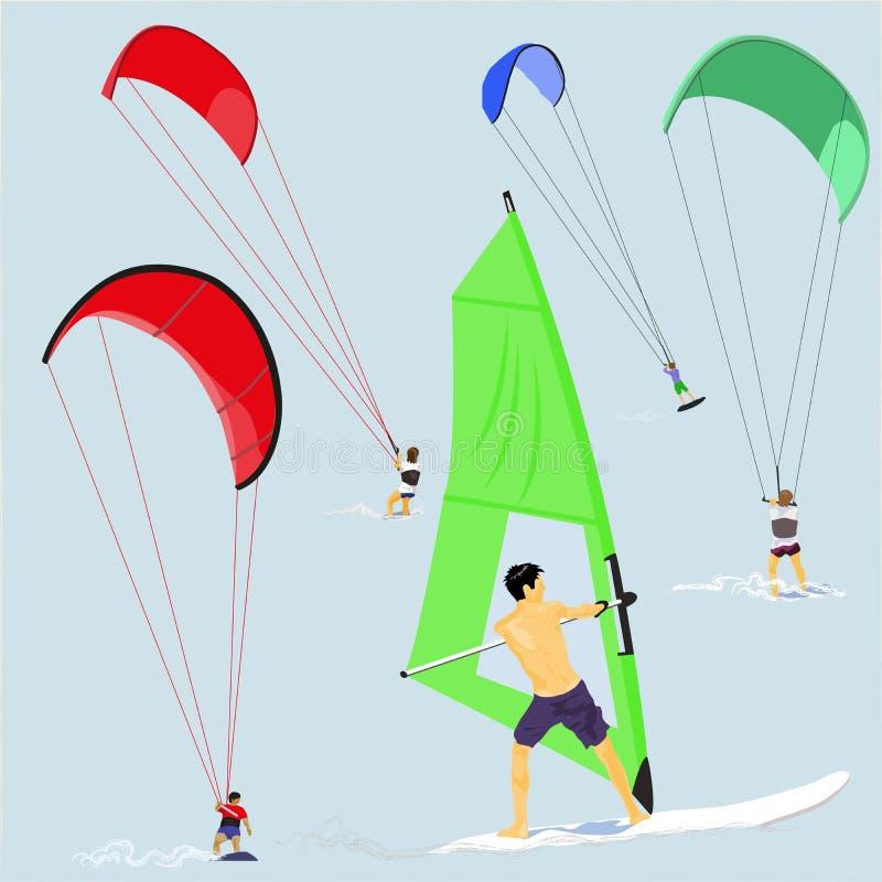 Surfisti del vento e dell'aquilone illustrazione di stock