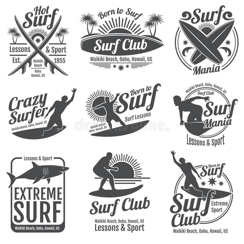 Surfować świetlicowych wektorowych roczników emblematy Kipieli deska na falowych znakach ilustracja wektor